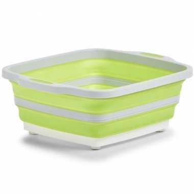 1x wit/groene opvouwbare afwasteil/afwasbak met snijplank 40 x 32 cm