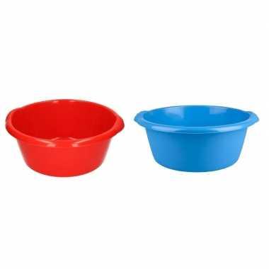 2x afwasteil blauw en rood 10 liter