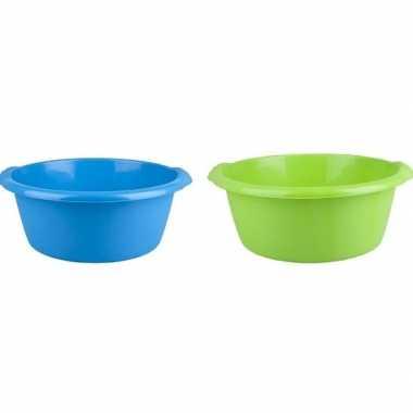2x afwasteil groen / blauw 10 l