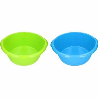 2x afwasteil groen / blauw 15 l