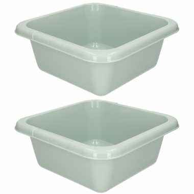 2x camping afwasteiltjes / afwasbakjes groen grijs 7 liter