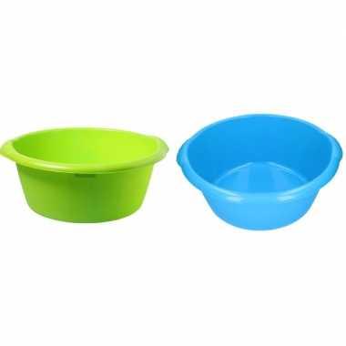 2x grote afwasteil / afwasbak blauw / groen 25 l 50 cm
