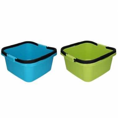 2x handige teil / afwasteil met handvat groen en blauw 13 liter