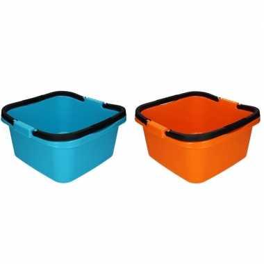 2x handige teil / afwasteil met handvat oranje en blauw 13 liter