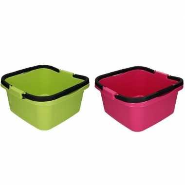 2x handige teil / afwasteil met handvat roze en groen 13 liter