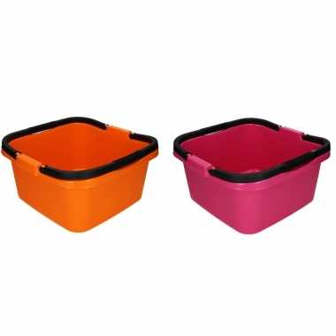 2x handige teil / afwasteil met handvat roze en oranje 13 liter