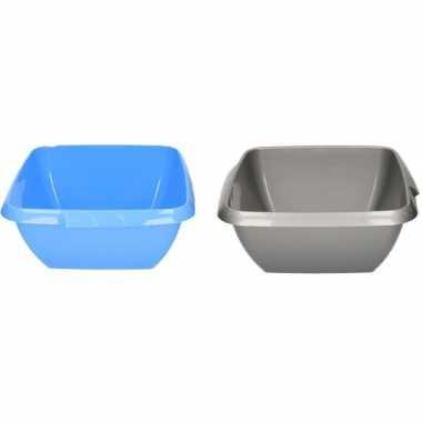 2x kunststof afwasteil grijs en blauw 11 liter