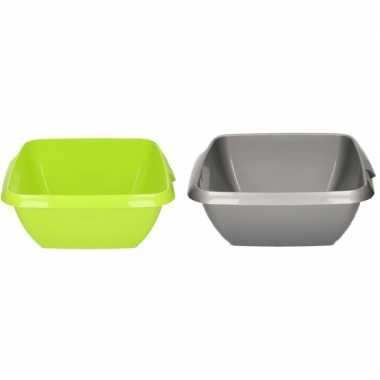 2x kunststof afwasteil grijs en groen 11 liter