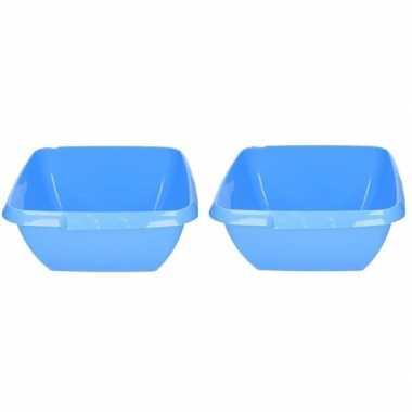 2x kunststof afwasteilen blauw 11 liter