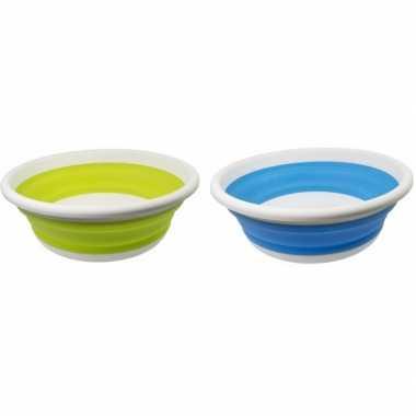 2x opvouwbaar teiltje / afwasbak lime groen / blauw 14l