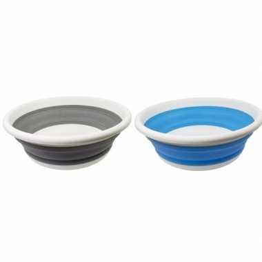 2x opvouwbare afwasteil blauw en grijs 14 liter