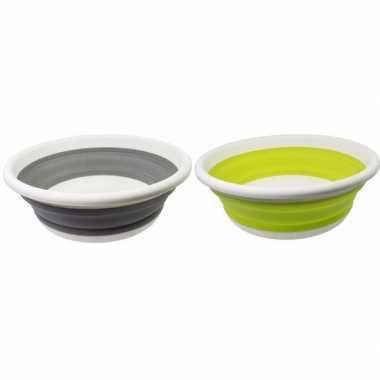 2x opvouwbare afwasteil lime groen en grijs 14 liter
