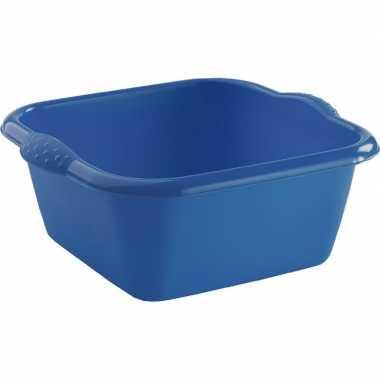 2x rechthoekige afwasteil/afwasbak blauw 6 liter 31,5 x 12,5 cm