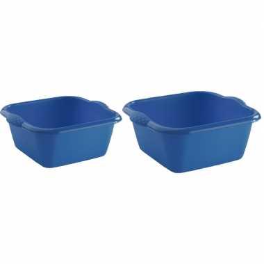 2x rechthoekige afwasteilen/afwasbakken blauw 3 en 6 liter