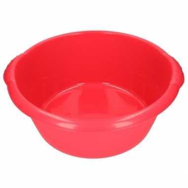 2x rode afwasbak / afwasteiltje rond 15 liter