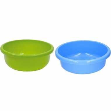 2x ronde afwasteil blauw en groen kunststof 9 liter