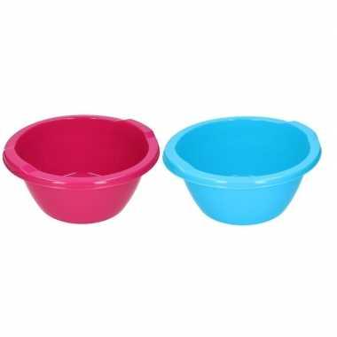 2x ronde afwasteil blauw en roze 6,5 liter
