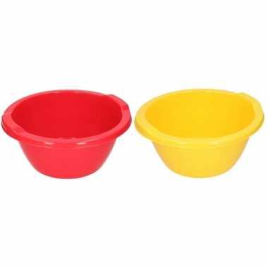 2x ronde afwasteil geel en rood 6,5 liter