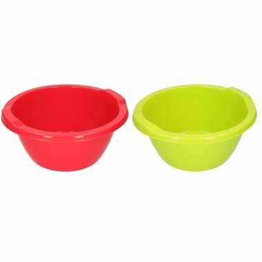 2x ronde afwasteil groen en rood 6,5 liter