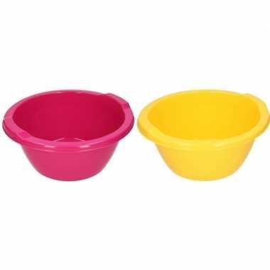 2x ronde afwasteil roze en geel 6,5 liter