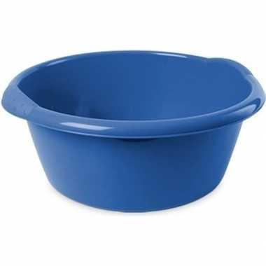 2x ronde afwasteilen/afwasbakken blauw 6 liter 32 x 12,5 cm