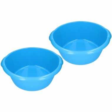 2x stuks blauwe afwasbak / afwasteiltje rond 15 liter