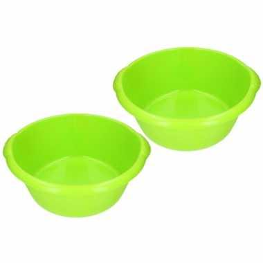 2x stuks groene afwasbak / afwasteiltje rond 15 liter