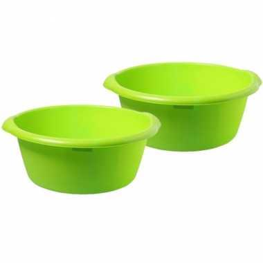 2x stuks grote afwasteil / afwasbak groen 25 liter