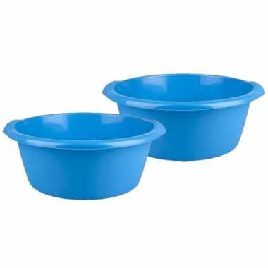2x stuks ronde afwasteil / afwasbak blauw 10 liter