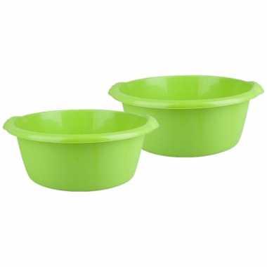 2x stuks ronde afwasteil / afwasbak groen 10 liter