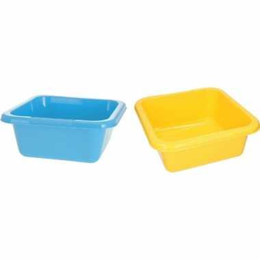 2x vierkante afwasteil geel en blauw 15 liter