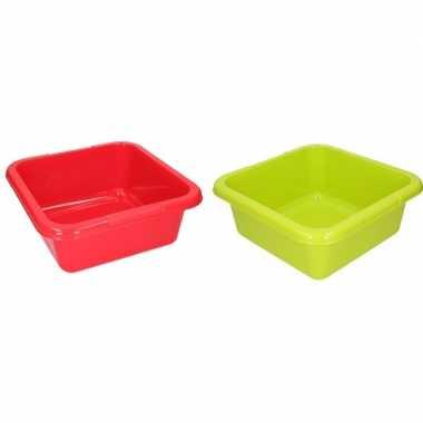 2x vierkante afwasteil groen en rood 15 liter