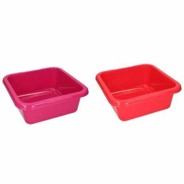 2x vierkante afwasteil rood en roze 15 liter