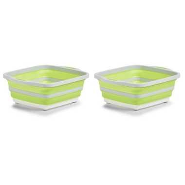 2x wit/groene opvouwbare afwasteil/afwasbakken met snijplank 40 x 32 cm 11 liter