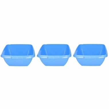 3x kunststof afwasteilen blauw 11 liter
