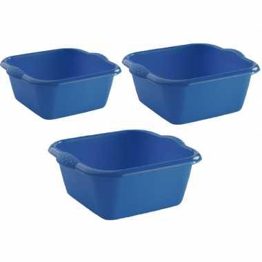 3x rechthoekige afwasteilen/afwasbakken blauw 3, 6 en 15 liter