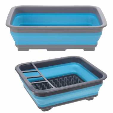 Camping set opvouwbaar afwasteiltje en afdruiprek blauw 10 liter rechthoekig