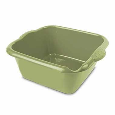 Groene afwasbak/afwasteil vierkant 6 liter 32 cm
