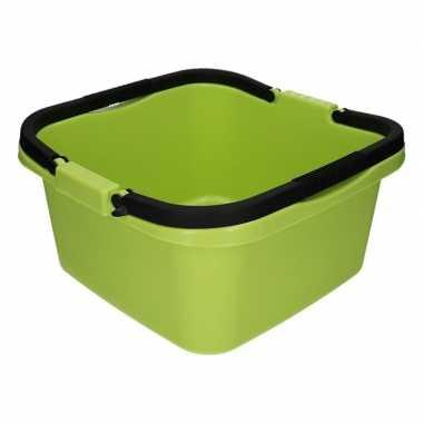 Handige teil afwasteil met handvat groen 13 liter