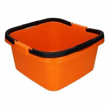 Handige teil afwasteil met handvat oranje 13 liter