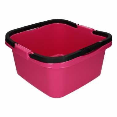 Handige teil / afwasteil met handvat roze 13 liter