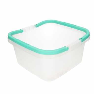 Handige transparante teil / afwasteil met handvat mint groen 13 liter