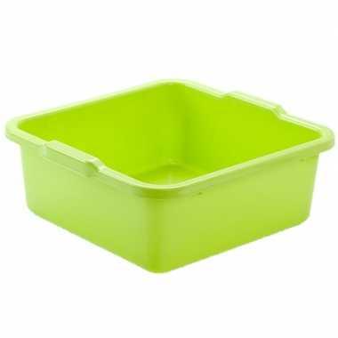 Kunststof teiltje/afwasbak vierkant 11 liter groen