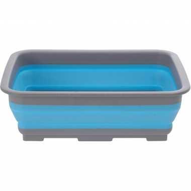 Opvouwbaar afwasteiltje/afwasbak blauw 10 liter rechthoekig