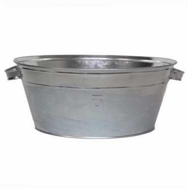 Ronde zilveren zinken teil 11 liter
