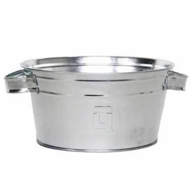 Ronde zilveren zinken teil 3,5 liter