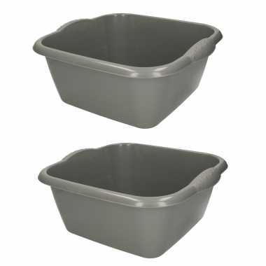 Set van 2x stuks grijze afwasbak/afwasteil vierkant 15 liter 42 cm