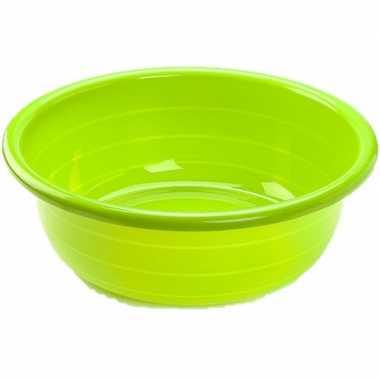 Set van 2x stuks grote kunststof teiltje/afwasbak rond 11 liter groen