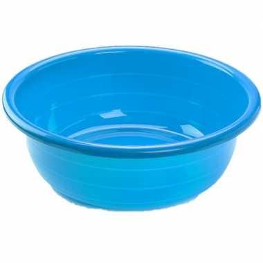 Set van 2x stuks grote kunststof teiltje/afwasbak rond 20 liter blauw