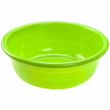 Set van 2x stuks grote kunststof teiltje/afwasbak rond 20 liter groen